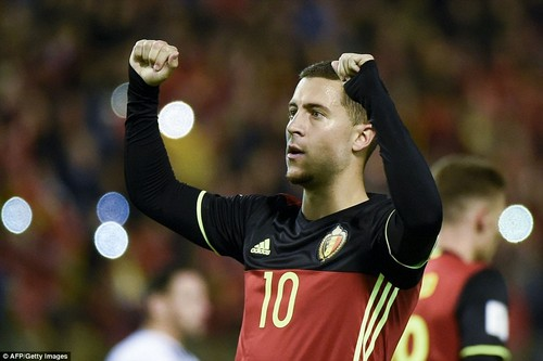 Chelsea forward Eden Hazard celebrates after scoring his second goal of the night against Cyprus