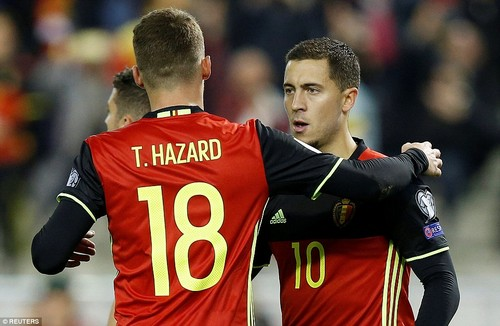 Thorgan Hazard celebrates with his brother after the Chelsea man had put Roberto Martinez's side 2-0 up against Cyprus