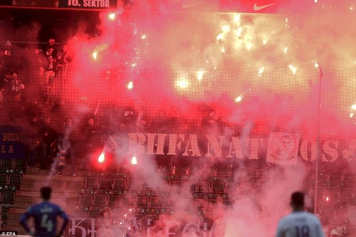 The Bosnian fans were unhappy after defeat at home to Belgium on Saturday left them unable to reach the finals in Russia
