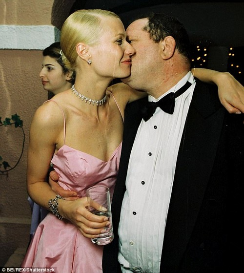 Paltrow continued to work with Weinstein, who she thought of as 'her Uncle Harvey', and said she was 'expected to keep the secret'. The pair are seen above celebrating her Oscar for Best Actress in his movie Shakespeare In Love in 1999