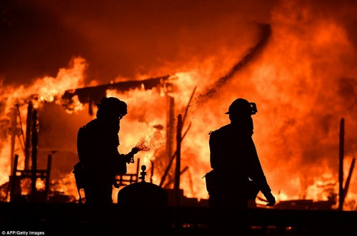 Firefighters have been working to control about 10 fires that broke out late Sunday night into early Monday morning