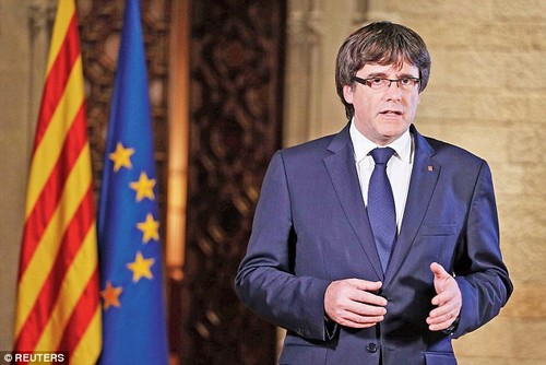 The Senate had suggested Puigdemont (pictured) could appear at the upper house before it gives Madrid the green light to take over Catalonia's regional powers