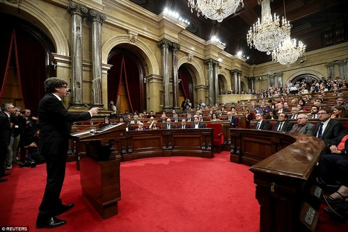 The president condemned the 'violent attacks' against those who voted in the outlawed independence referendum on October 1. He added: 'We will never forget it'