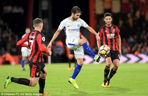 Fabregas played the full game against Bournemouth as Chelsea won 1-0 on Saturday