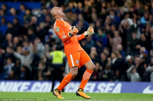 Willy Caballero of Chelsea celebrates after seeing his side seal victory in their Carabao Cup fourth round tie against Everton