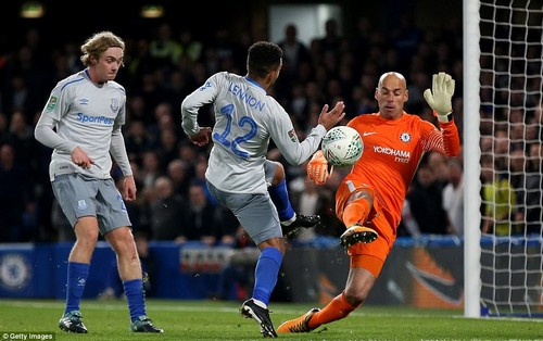 Chelsea goalkeeper Caballero shows plenty of bravery as he comes out to make a save from an Aaron Lennon shot