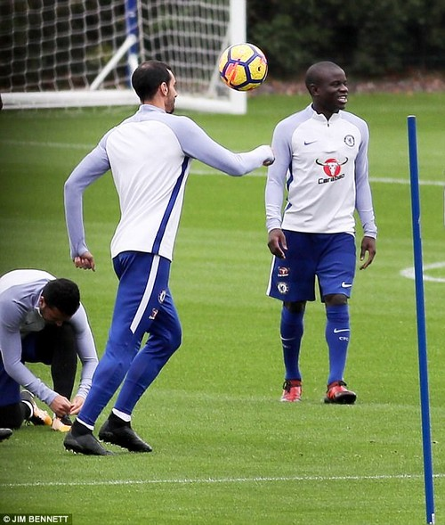 N'golo Kante returned to Chelsea training after a three-week absence with a hamstring injury
