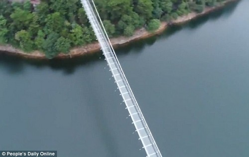 It is built with three layers of reinforced glass and held by strong suspensions along the bridge