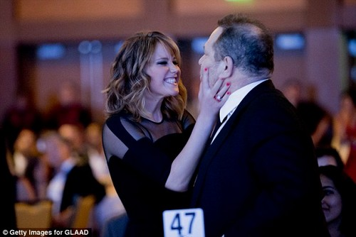 Actress Jennifer Lawrence and Harvey Weinstein attend the 24th Annual GLAAD Media Awards presented by Ketel One and Wells Fargo at JW Marriott Los Angeles at LA LIVE on April 20, 2013 in Los Angeles, California
