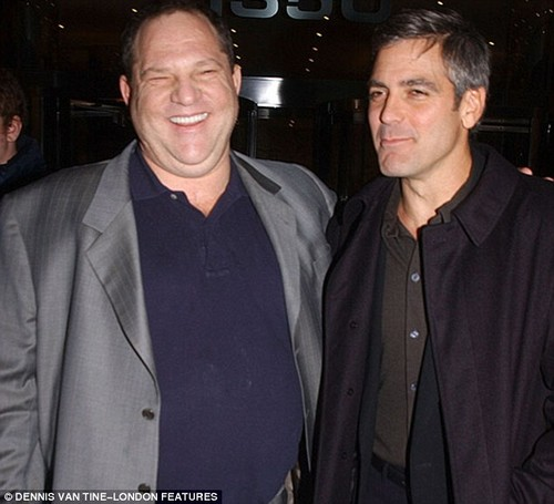 George Clooney and Harvey Weinstein at the Confessions of a Dangerous Mind premiere in New York in November 2002