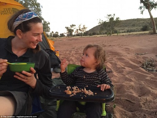Al fresco dining: After working-up an appetite, mother and daughter enjoy a meal on-the-road