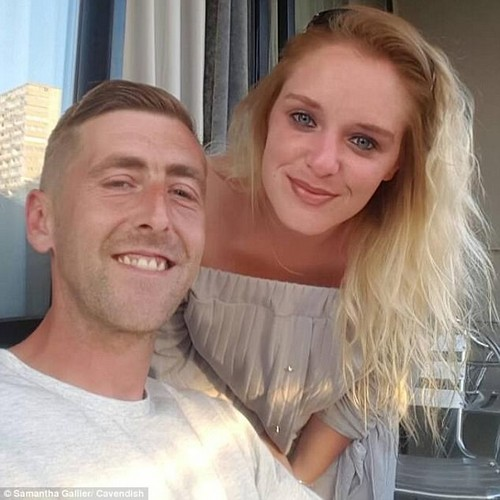 Paul Gallier, 33, and his wife Samantha, 27, (pictured) had just learnt their one-week-old daughter Sophia had contracted the illness after being born 16 weeks premature