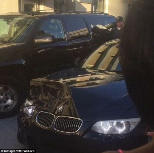 Police have said that Hithon was driving erratically around 6.15pm that evening when she crashed her black BMW into another car on 12th Street and Ocean Drive. Her BMW is pictured after the crash
