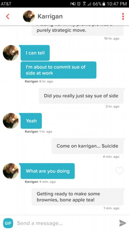 Work's hard: Karrigan's threat of committing 'sue of side' seemed pretty empty considering she didn't even know the word 'suicide'