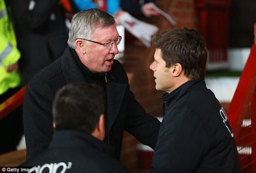 Sir Alex Ferguson greets Pochettino when his Southampton played United in January 2013