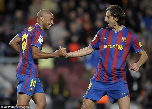 Henry (left) and Ibrahimovic (right) spent one season together at Barcelona in 2009