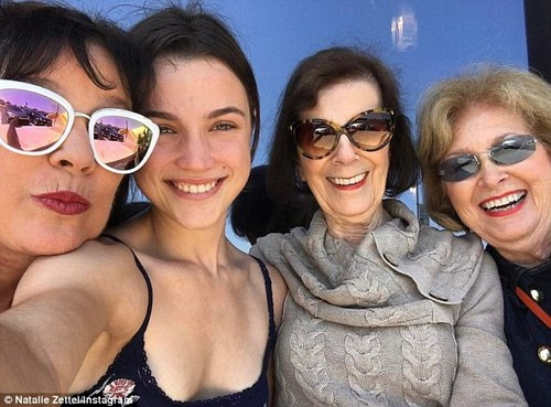 Say cheese: Natalie spent Mother's Day with their mutual grandmother Mary Jo 'MJ' Campbell in May