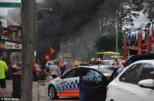 A truck has crashed into a building and multiple cars in the Hunter region Wednesday morning