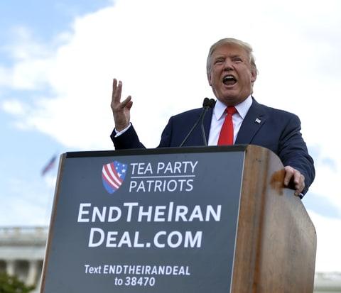 U.S. Republican presidential candidate Donald Trump speaks during