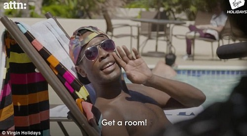 In the video a straight couples receives jibes from LGBT+ holiday makers in an effort to point outuncomfortable disparity between the experiences of LGBT+ and straight couples