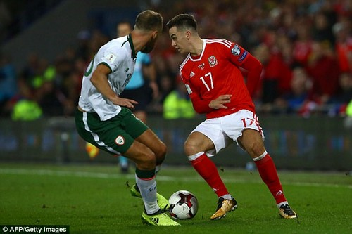 Wales forward Tom Lawrence played positively and carried the ball well on Monday night