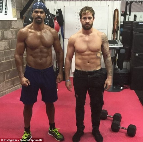 And took to Instagram boasting his fitness with heavyweight boxer David Haye