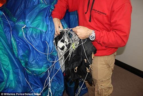 The court has been shown the parachute Cilliers is alleged to have tampered with.Mrs Cilliers's main (pictured) and reserve parachute failed, causing her to spin to the ground