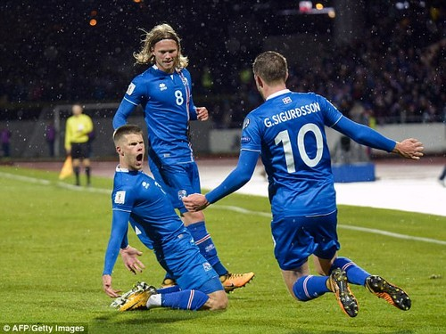 Iceland celebrate jubilantly as Johann Gudmundsson (left) scores against Kosovo