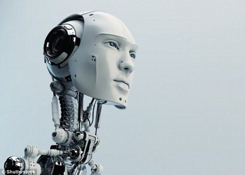 Those implanting microcomputers into their mind risk merging with machines to the point that humans androids are indistinguishable from one another, an expert has claimed (stock image)