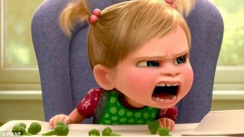 In the 2015 Pixar movie 'Inside Out', a father tries to feed a toddler broccoli for the first time, which she knocks off the table. When he threatens her with no dessert, she throws a tantrum