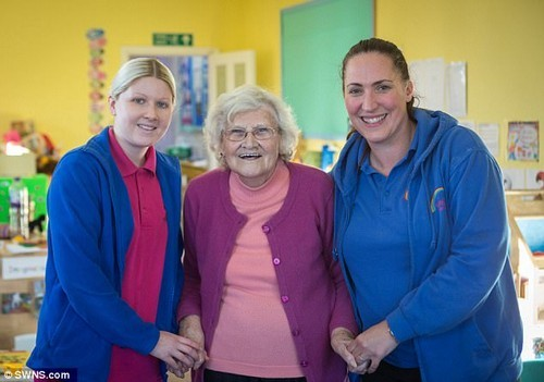 The 85-year-old is pictured with Highdale Nursery manager Sarah Millard and her granddaughter Claire Stackhouse