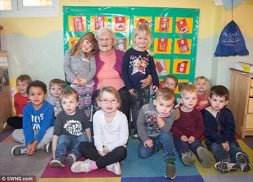 The children at the Somerset nursery fondly know her as 'Nanny Joyce'