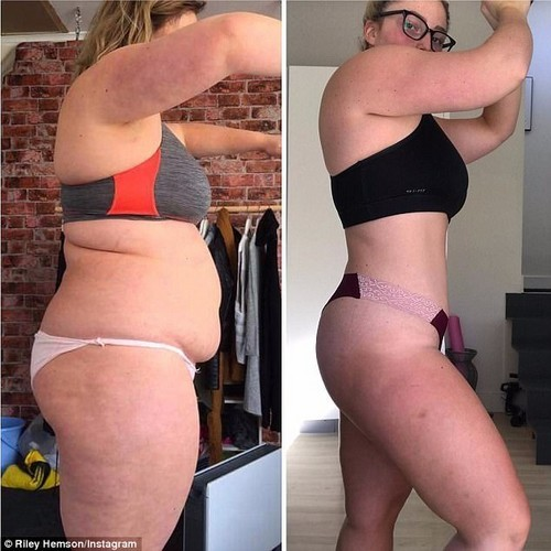 Ms Hemson before she embarked on her journey (pictured left) and of herself (pictured right) 30 kilograms lighter