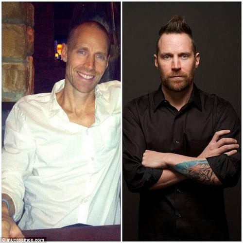 Rob lost a lot of weight during his cancer battle (pictured, left, during; right, before). He had been experiencing symptoms for a year, such as bloating and a change in bowel movements, but he assumed it was IBS, and without health insurance, he had decided to put it off