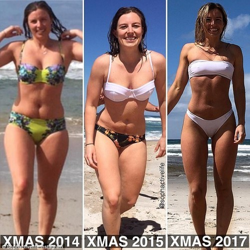 27-year-old personal trainer, Sophie Allen (picutred) has posted a raw comparison photo of her body over the past few Christmases - in order to show how far she's come