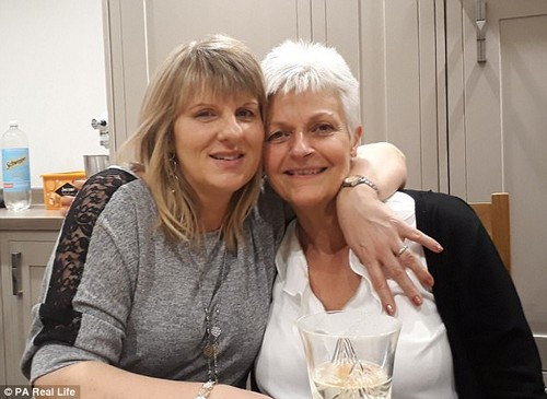 Nicky Turkoz, right, was diagnosed with acute myeloid leukaemia in December 2014 ¿ here she is pictured with her donorAnnette Hamson