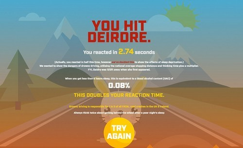 The game shows the dangers of so-called 'drowsy driving', using the national average stopping distance and thinking time, plus a multiplier to allow for sleep deprivation