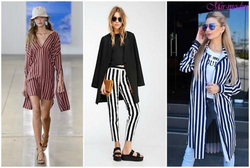 Одежда с вертикальными полосками.