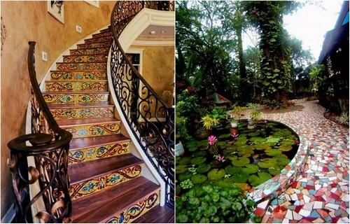Оригинальные примеры использования яркой мозаики в ландшафтном дизайне и интерьере.