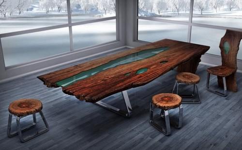 Каркас стола из дерева и металла - настоящее произведение искусства.