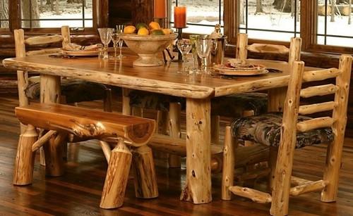 В последнее время всё чаще встречается мебель из спилов натуральной древесины.