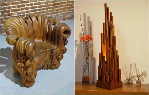 Стильные предметы мебели из натуральной древесины.