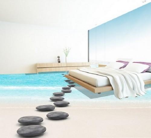Морской наливной 3D-пол в спальной комнате.