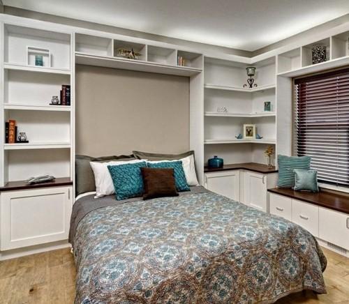 Стоит также отметить, что сам шкаф может быть угловой, что позволит создать достаточное количество полок и ящиков для хранения личных вещей.
