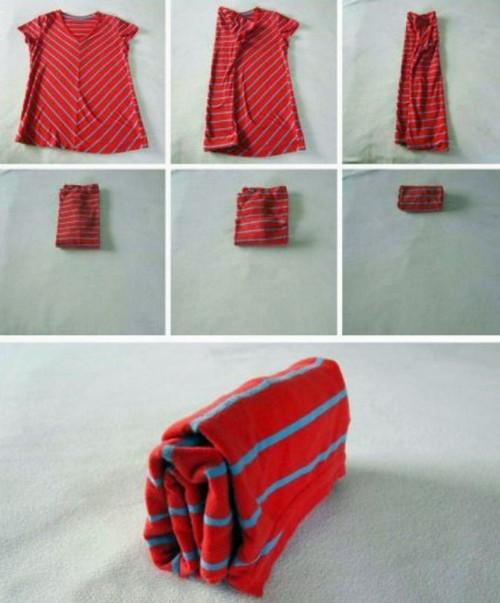 Фотоинструкция по сворачиванию футболки.