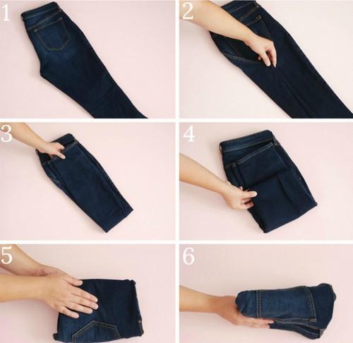 Компактное хранение джинсов.