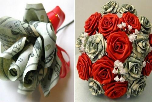 Цветы из денег.