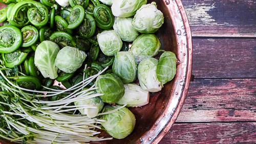 Fiddleheads, Brussels sprouts and pea shoots