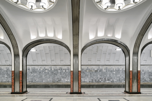 """One of the """"Palaces of the People,"""" Mayakovsky station was constructed in the Futurist style in 1938."""