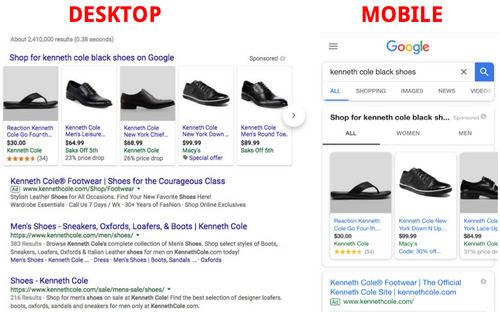 Desktop vs mobile search results